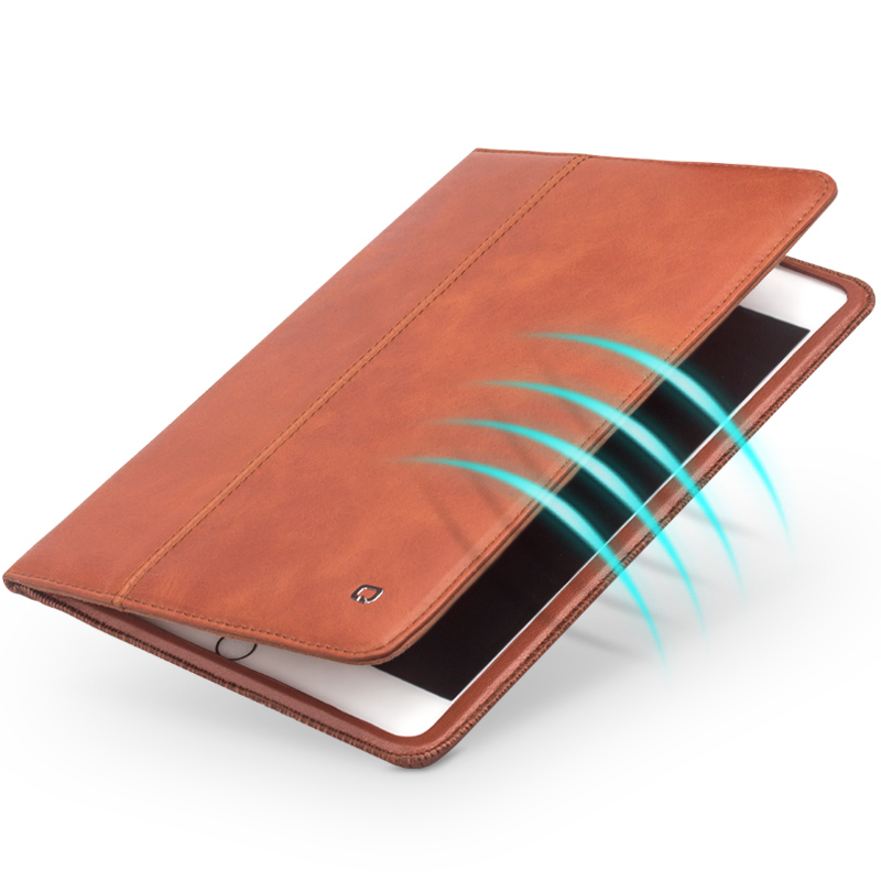 QIALINO Luxury Genuine Leather Smart Stand Flip Cover for iPad mini4 Stents Automatic Black Wake up