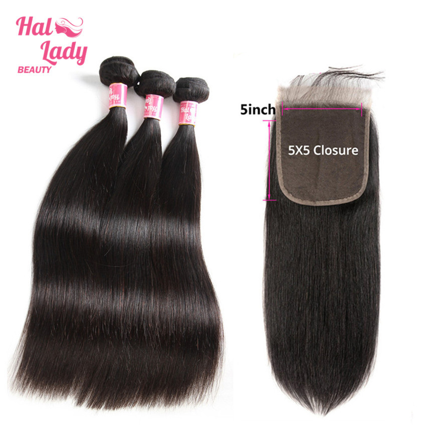 Brazilian Straight Hair Bundles with 5X5 Lace Closure Human Hair Weaves with Closure 3 Bundles with