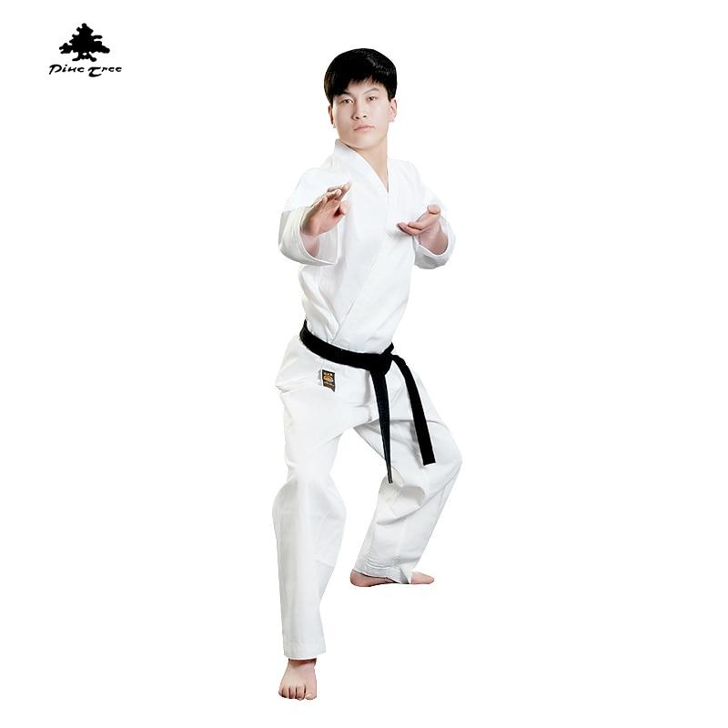 Fenyőfa Hagyományos karate Egyenruha gyerekek férfiak fehér diák Taekwondo dobok Sport stílus lakosztály V-nyakú kabát Egyenruha