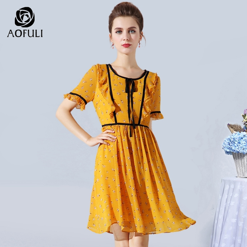 AOFULI M XXXL 4XL 5XL Summer Print Chiffon Dress Big Size Lady Bow Tie Dress Short