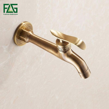 купить 2014Long garden use Bibcock faucet tap crane Antique Brass Finish Bathroom Wall Mount Washing Machine Water Faucet Taps по цене 1270.06 рублей