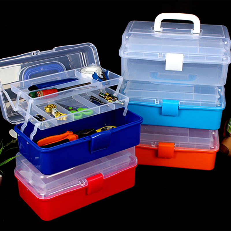 Large Multilayer Plastic Transparent Storage Box Tools Bins Organizer Portable Medical Kit Jewelry Office Storage Organizadoras