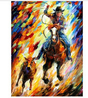 Hand Painted Figure Oil Painting On Canvas Acrylic Paintings Palette Knife Cowboy Horses Picture Abstract Home