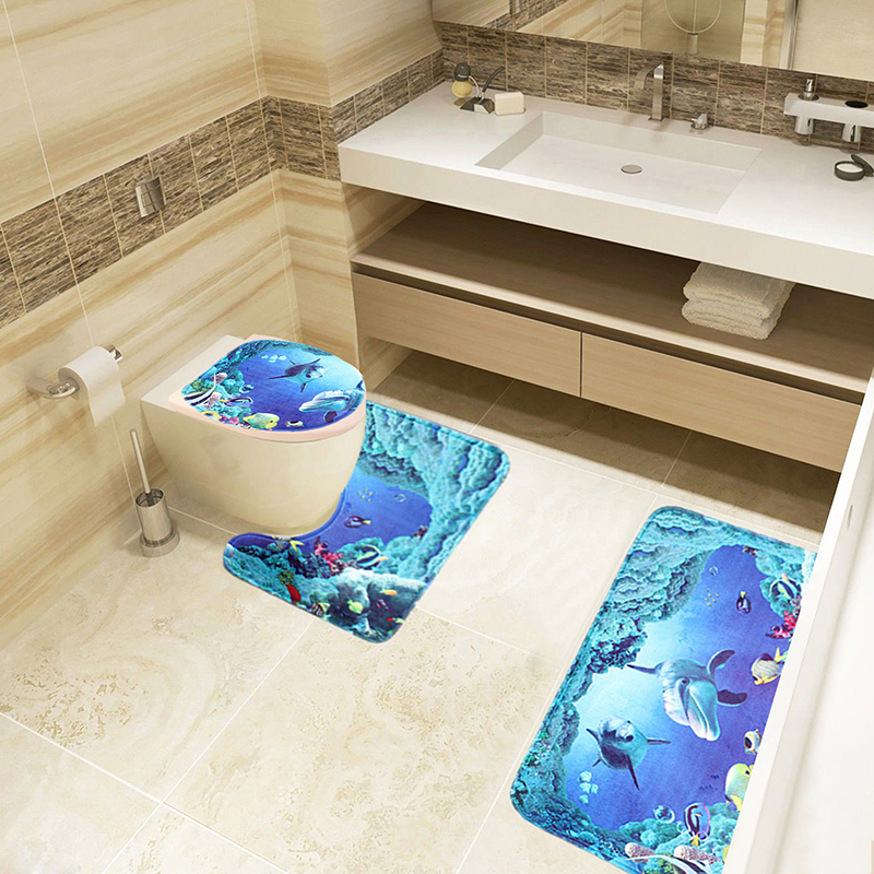 bathroom rugs set 3 piece bath mat flannel bathroom contour rugs blue nuobo - 3 Piece Bathroom Rug Sets