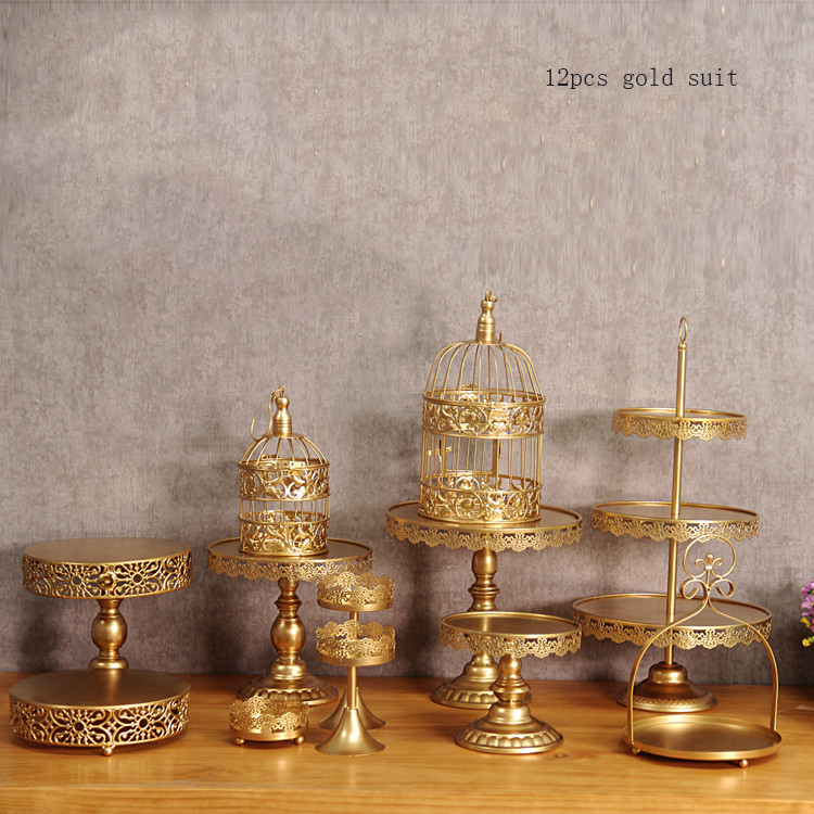 gold wedding cake stand set 12 pieces cupcake stand barware decorating cooking cake <font><b>tools</b></font> bakeware set party dinnerware