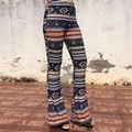 Mujeres del color de la vendimia de rayas cintura alta pantalones del otoño del resorte señoras de la manera tribal pantalones stretch slim fit pantalones flare