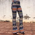 Women Vintage Color Striped High Waist Pants Spring Autumn Fashion Ladies Tribal Flare Pants Stretch Slim Fit Trousers