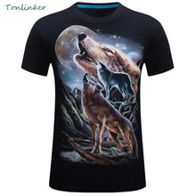 Tonlinker 2018 New Summer Man Animal 3D Printing Cool Loose T Shirt Casual Fashion 0-Neck Men Streetwear Short Slevee