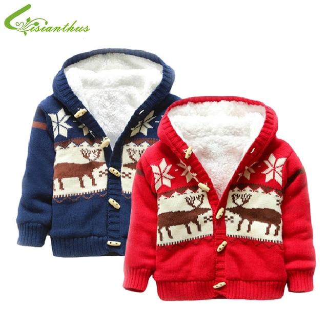 baby sweaters christmas reindeer cardigan jackets children fleece lining coats kids boys girls outwear autumn winter - Christmas Jackets