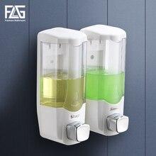 FLG Liquid Soap Dispenser Wall Mount 370ml*2 Bathroom Accessories Plastic Detergent Shampoo Dispensers Double Hand Kitchen