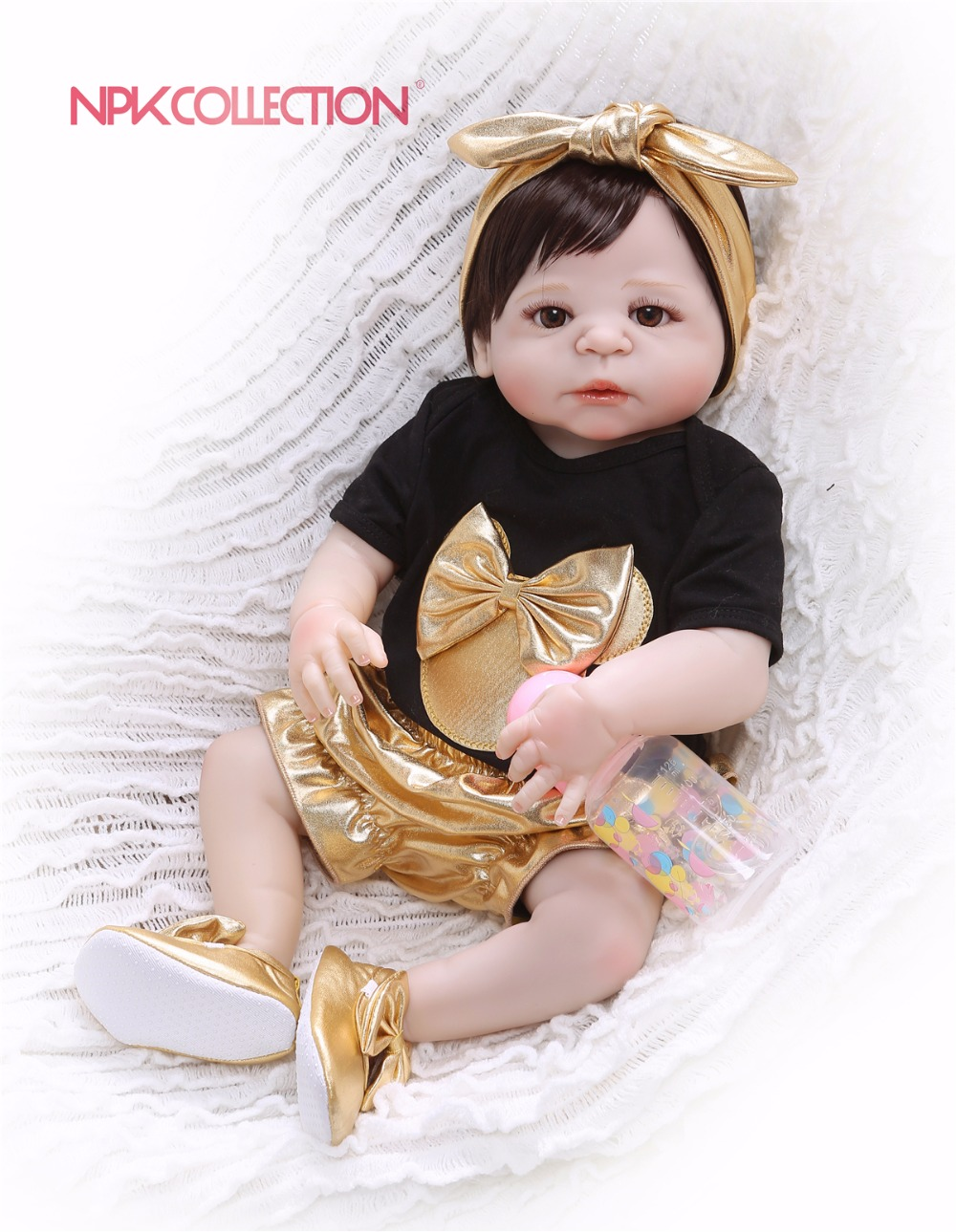 NPK 57CM black & golden Full Body Silicone Girl Reborn Babies Doll Toys Princess Babies Doll Wig Hair Birthday Gift Xmas giftNPK 57CM black & golden Full Body Silicone Girl Reborn Babies Doll Toys Princess Babies Doll Wig Hair Birthday Gift Xmas gift