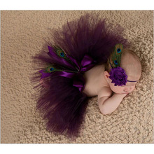 2016 NEW Baby Tulle Tutu with Matching Peacock feathers Flower Headband Set Newborn Photography Props Little Girl Bow Skirt