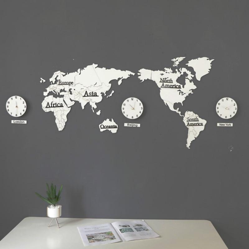 130Cm*60Cm Creative 3D MDF Wooden Wall Clock DIY World Map Large Size Wall Sticker Clock Modern European Style Round Mute Clock