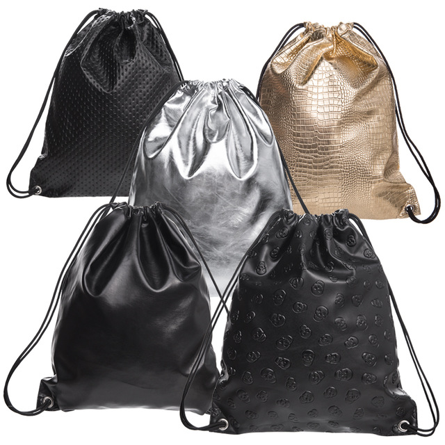 PU Leather Drawstring Bags For Women Soft Geometric Laser Backpacks Travelling Causal School Bags For Teenagers Skull Mochilas Счастье