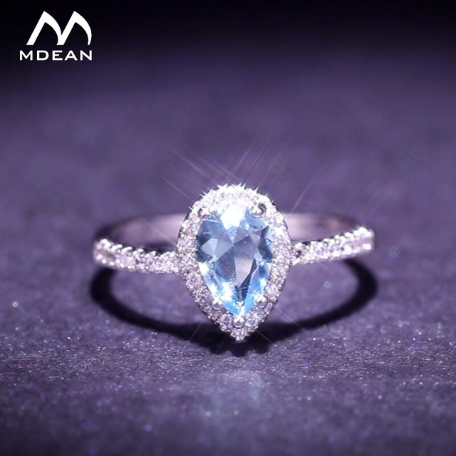 MDEAN White Gold-Color Rings for Women blue AAA Zircon Jewelry Engagement Classi