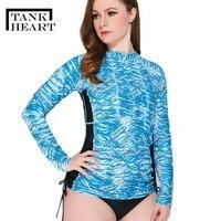 Tank Heart Women Rash Guard Rashguard Lycra Surf Swimsuit sleeve 2 piece plus size swimwear women Outdoor Sports Yoga Maillot