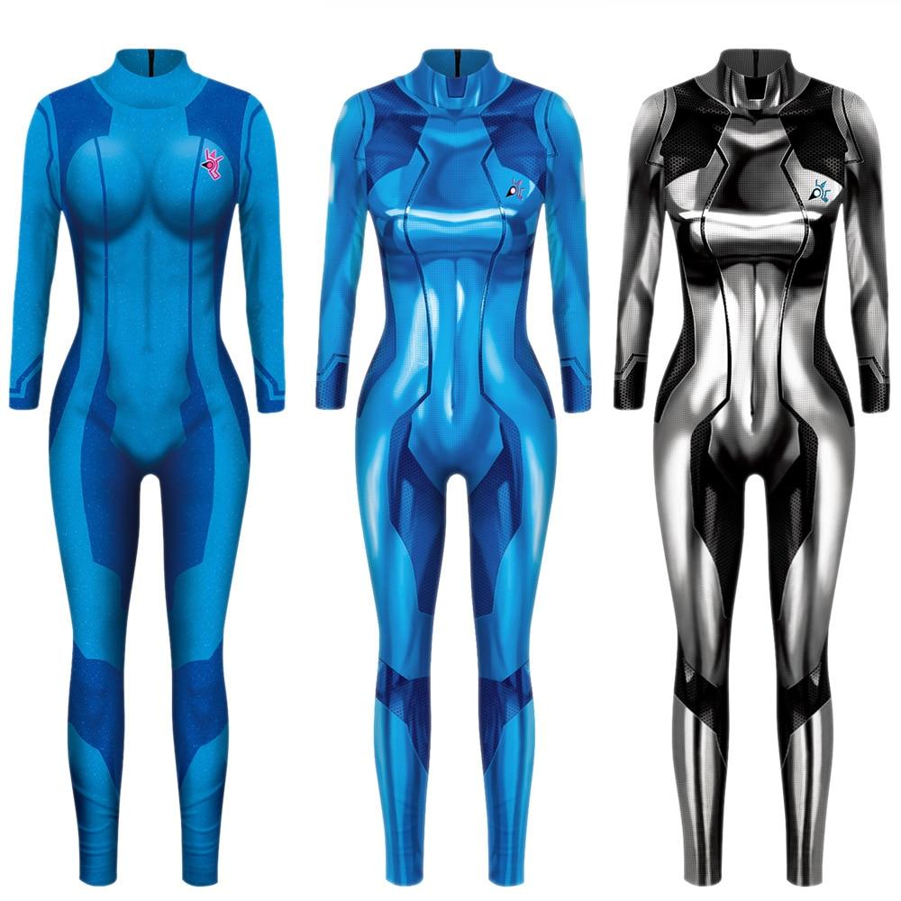 MEGATROID&SAMUS Black Samus Aran Metroid Zero Suit Cosplay Costume Lycra Spandex 3D Print Game Zentai Catsuit Samus Bodysuit