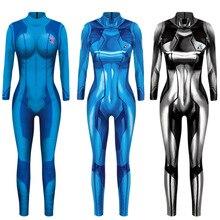 MEGATROID e SAMUS Nero Samus Aran Metroid Zero Vestito Cosplay Costume di Lycra Spandex 3D Stampa Gioco Zentai Catsuit Samus Tuta