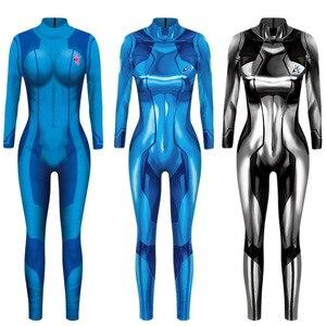 Image 1 - MEGATROID ve SAMUS siyah Samus Aran Metroid sıfır takım elbise Cosplay kostüm Lycra Spandex 3D baskı oyunu Zentai Catsuit Samus Bodysuit