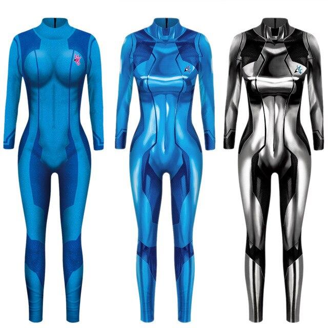 MEGATROID ve SAMUS siyah Samus Aran Metroid sıfır takım elbise Cosplay kostüm Lycra Spandex 3D baskı oyunu Zentai Catsuit Samus Bodysuit