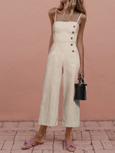 Cotton And Linen Summer Women's Jumpsuit 2019 Khaki Strap Button Pockets Rompers Playsuit Casual Fitness Overalls Female