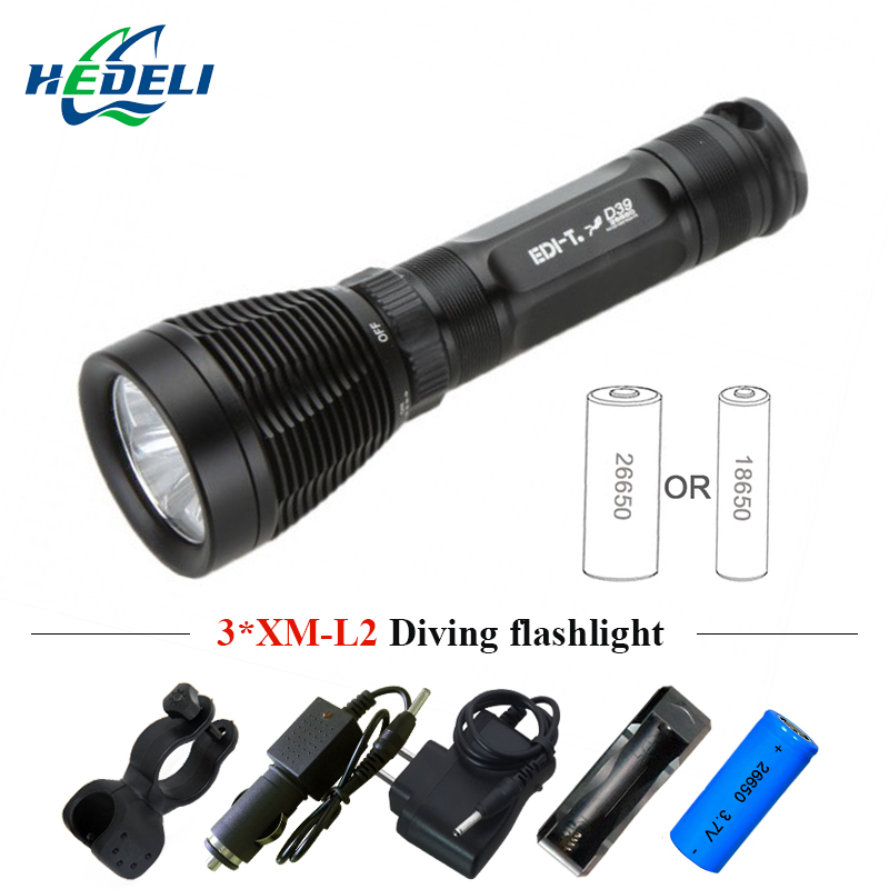 scuba diving led flashlight cree xm 3 l2 underwater flash light waterproof torch lamp use 26650 or 18650 battery buceo light diving 4000 lumens cree xm l2 led 3 l2 led t6 flashlight torch waterproof underwear lamp light super white light