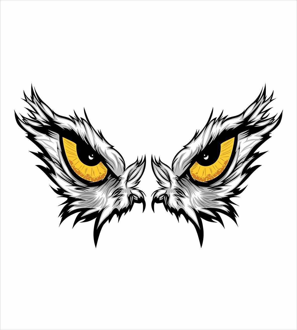 Ensemble housse de couette yeux regard agressif d'un oiseau de proie dessin animé mascotte chasseur faucon aigle Hawk ensemble de literie décoratif 4 pièces