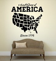 Free Shipping United States USA Map State Coolest Wall Decal Room Art Removble Vinyl Stickers Home Decoration