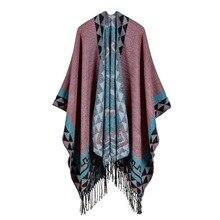 ¡Oferta! chal de Cachemira de imitación alargado con flecos, parte delantera y trasera, capa gruesa, bufandas para mujer 2019 harajuku