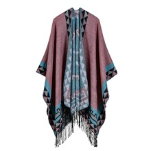 Tassel lengthening hot selling imitation cashmere shawl front and back can be thickened cloak scarves women 2019 harajuku