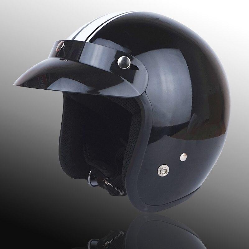 Для взрослых с открытым лицом Jet Casco moto Винтаж moto rcycle шлем moto rbike Ретро шлем скутер 3/4 полушлем capacete de moto cicleta - Цвет: white line