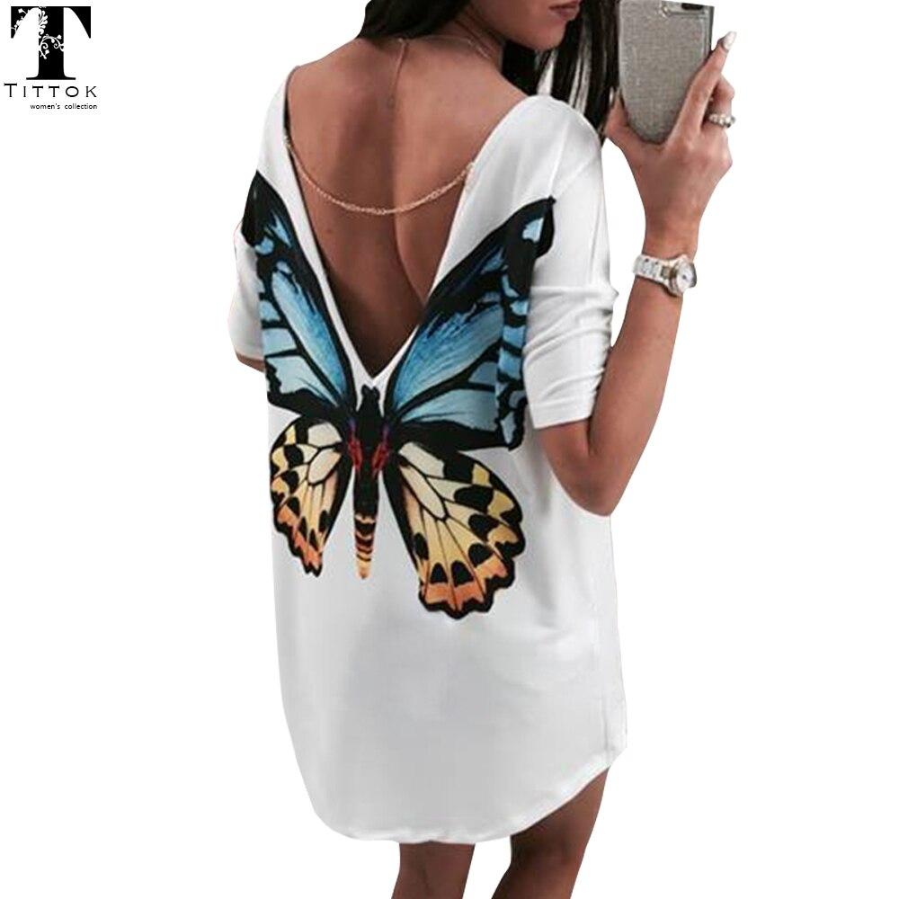 Butterfly Casual V neck mini women t shirt dress bohe chiffo