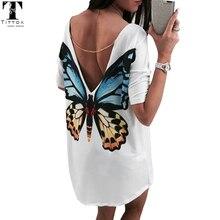 Butterfly Casual V neck mini women t shirt dress bohe chiffon dress women's summer casual dresses 2017women summer beach dress