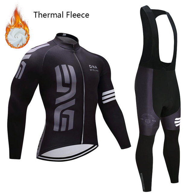 Winter Cycling Clothing 2018 Pro Team Super Warm Men Winter Thermal Fleece  Cycling Jersey 9D Gel Pad Bib Pants Set Ropa Ciclismo c4bd36775
