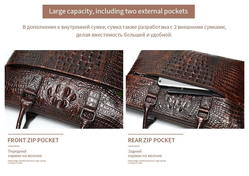 HTB1XH2We21G3KVjSZFkq6yK4XXaI WESTAL Men Briefcase Men's Bag Genuine Leather Office Bags for Men Laptop Bag Leather Briefcase Men Croco Design Computer Bags