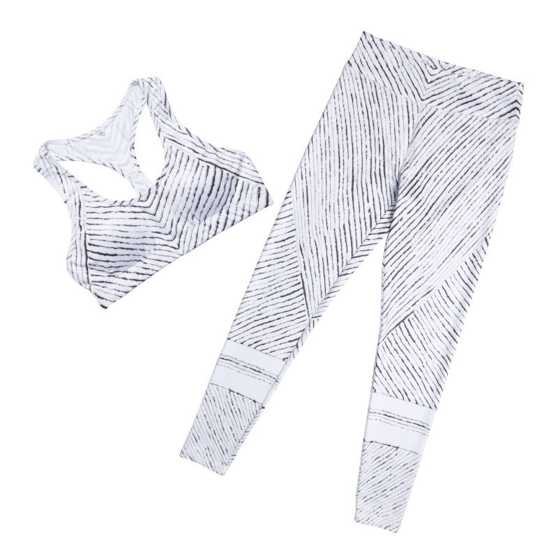 Striped Yoga Set Tracksuit Sexy Yoga Bra + Sport Legging Tights Running Gym Suit Fitness Yoga Suit Women Sports Suit