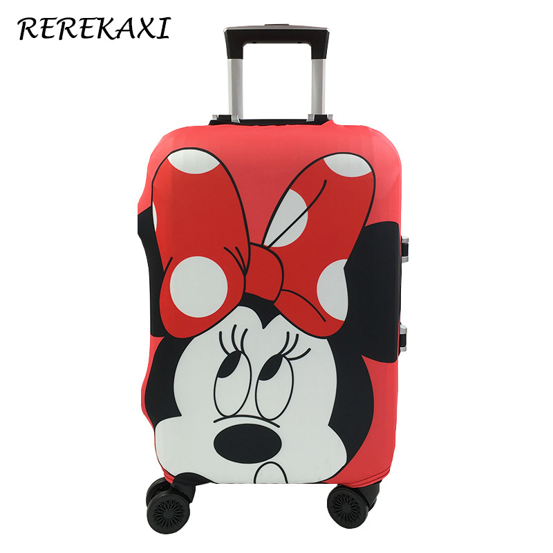 Minnie And Mickey Pattern Travel Suitcase Protective Cover, Elastic Dust Case Cover For 19-32 Inch Trolley,Travel Accessories