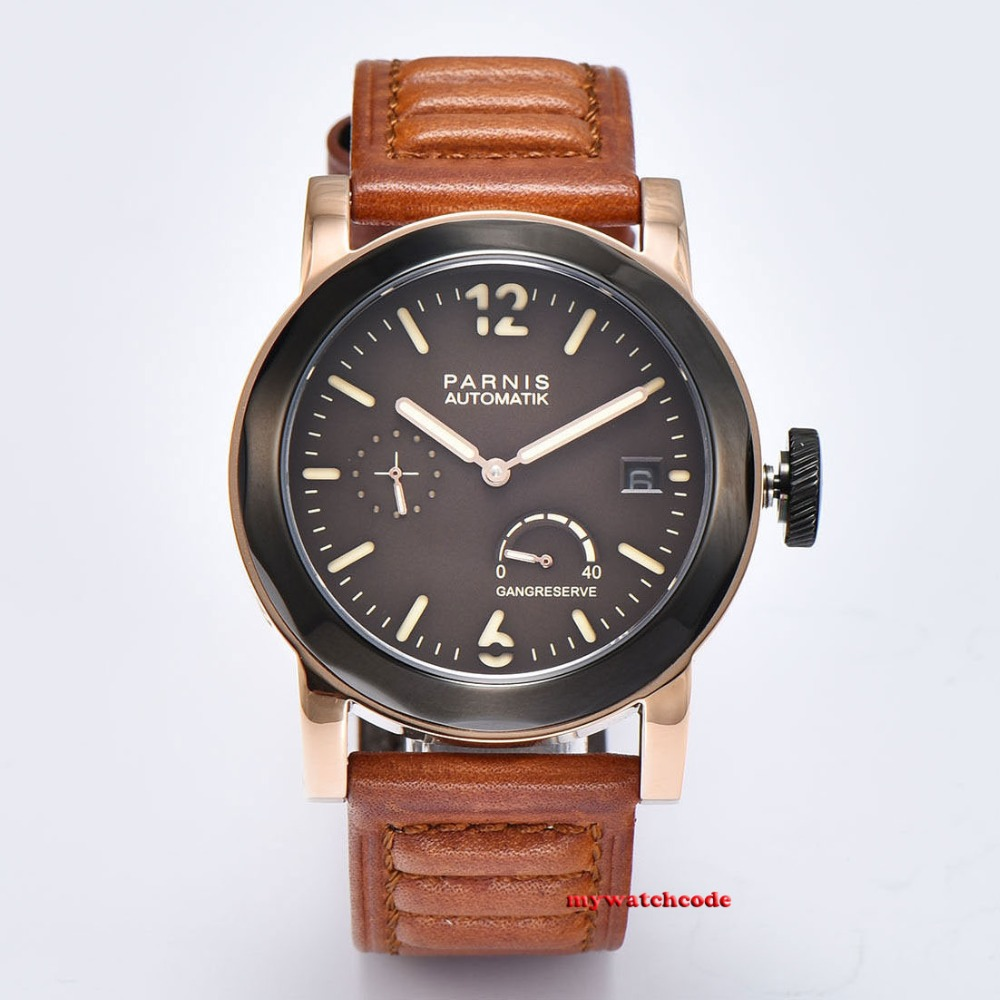 44mm Parnis coffee dial Sapphire glass pvd Case ST Automatic Mens Watch69244mm Parnis coffee dial Sapphire glass pvd Case ST Automatic Mens Watch692