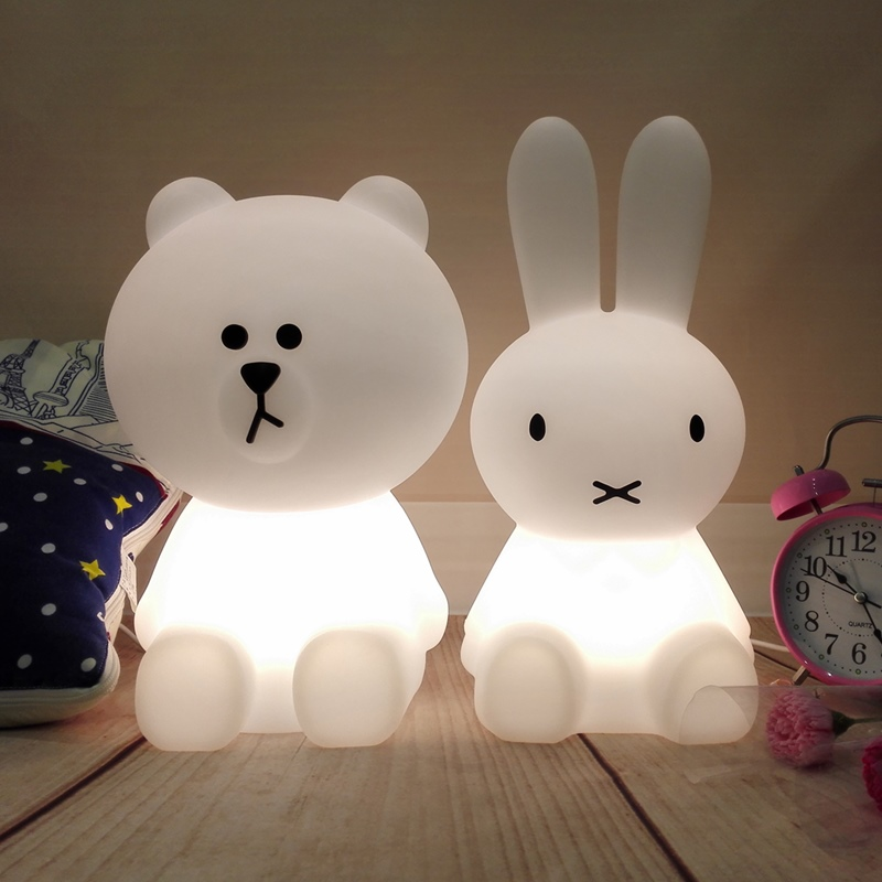Ins Hot Dimmable LED Rabbit Lamp Bear Night Light Children Baby Kids Birthday Christmas Gift Animal Cartoon Decorative Desk Lamp beiaidi 7 color usb rechargeable rabbit led night light dimmable animal cartoon light with remote baby kids christmas gift lamp