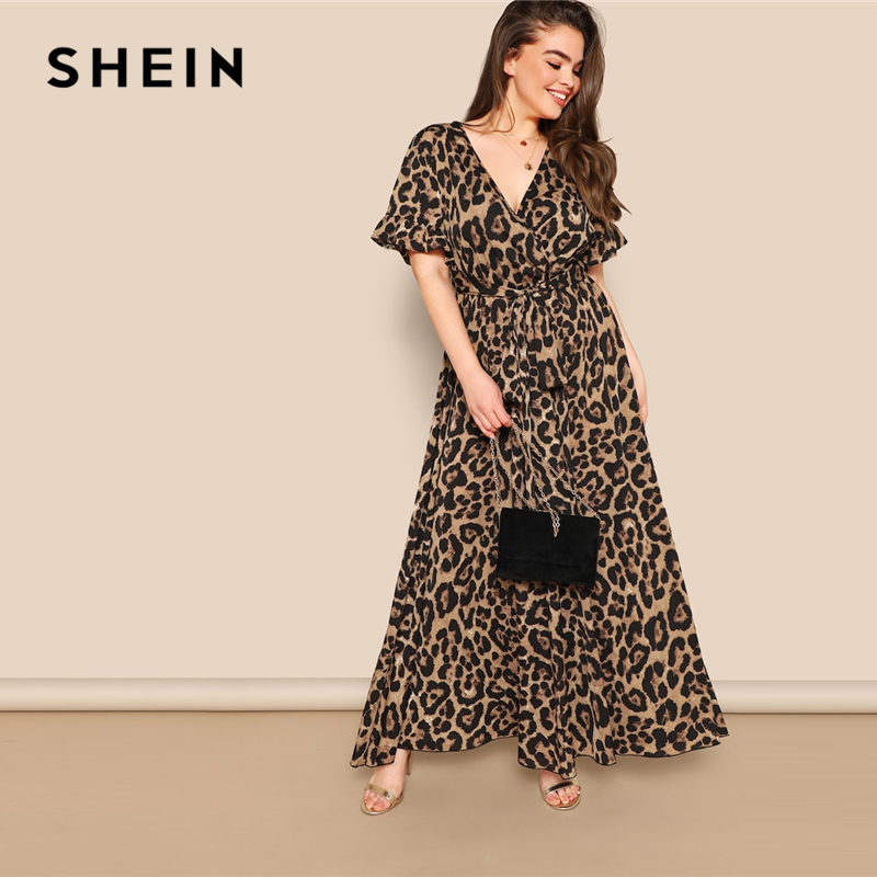 SHEIN женское платье больших размеров, рукав-волан, с завязками на талии, леопардовое платье трапециевидной формы, весенние многоцветные плат...