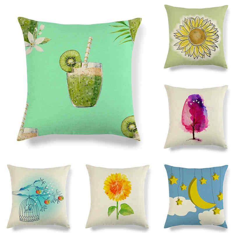 45 cm * 45 cm aquarela linho projeto do Balão de Ar Quente/algodão throw pillow covers capa de almofada sofá de casa capas de almofadas decorativas