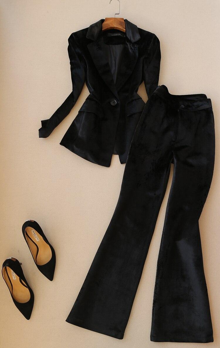 Gold samt anzug frauen büro dame professionelle blazer + breite bein hosen zwei sätze frühling herbst neue mode temperament - 4