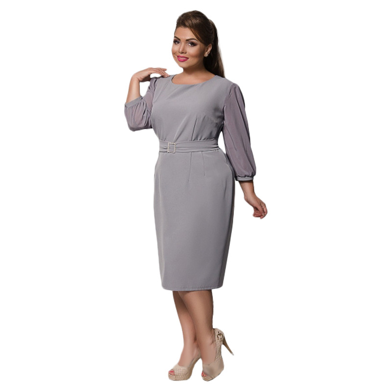 f3bfd7a67357f1 Plus Size Elegant Women Under 20 Years Old Office Dresses for Women Simple  And Beautiful Lady's Sashes Dress-in Dresses from Women's Clothing on ...