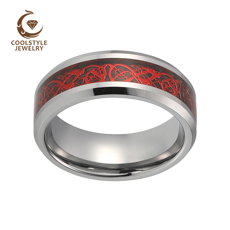 8MM Silver Men Ring Tungsten Carbide Ring With Black Carbon Fiber Red Dragon Inlay Comfort Fit