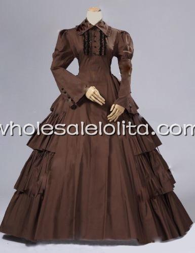 Винтаж Umber в викторианском стиле период платье историческая реконструкция Театральный Костюм