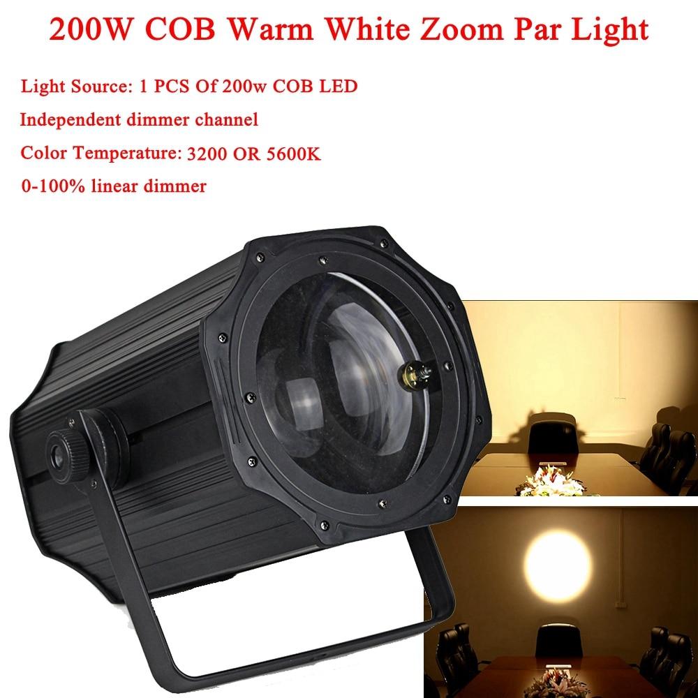 COB ZOOM 0 100 Linear Dimmer 200W COB LED Par Light 3200 5600K Warm White Stage