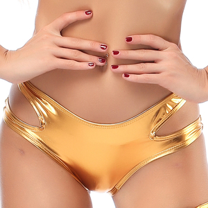 Image 4 - Candy Color PU Patent Leather Hot Women Hollow Out Boxer Glitter Pole Dance Booty Shorts Sexy Panties Low Waist Short Trousers