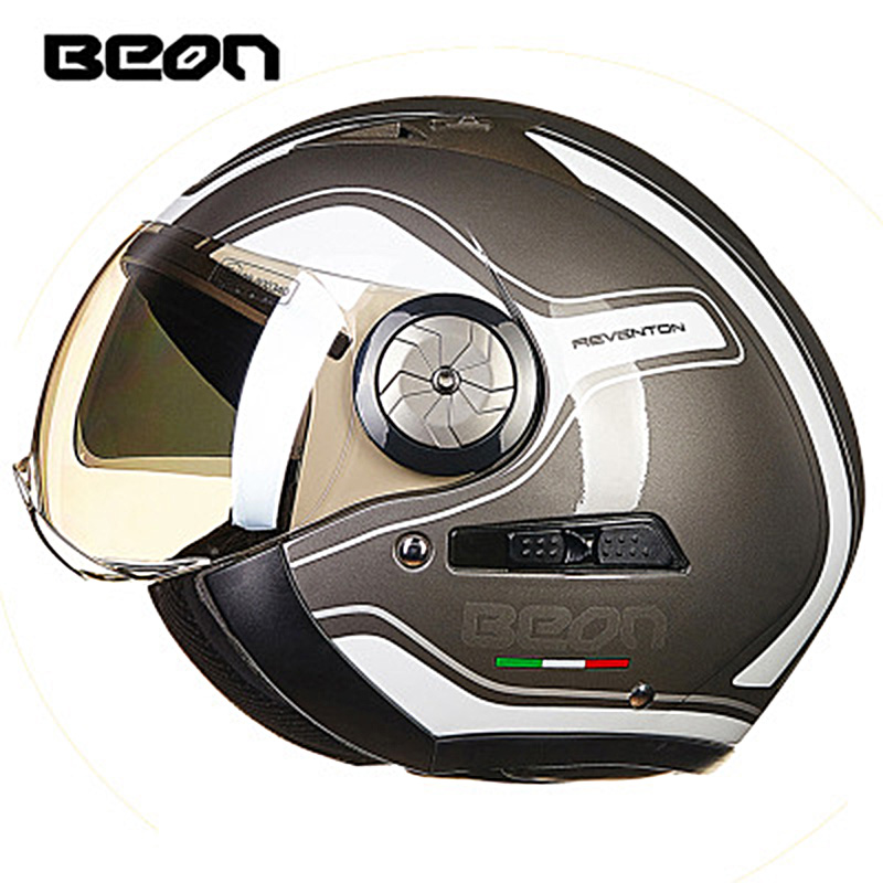 Beon Open Face 3/4 Moto Helmets Vintage Men Women Double Visor Motorcycle Motorbike Helmets ECE Half Helmet Headgear Protection все цены