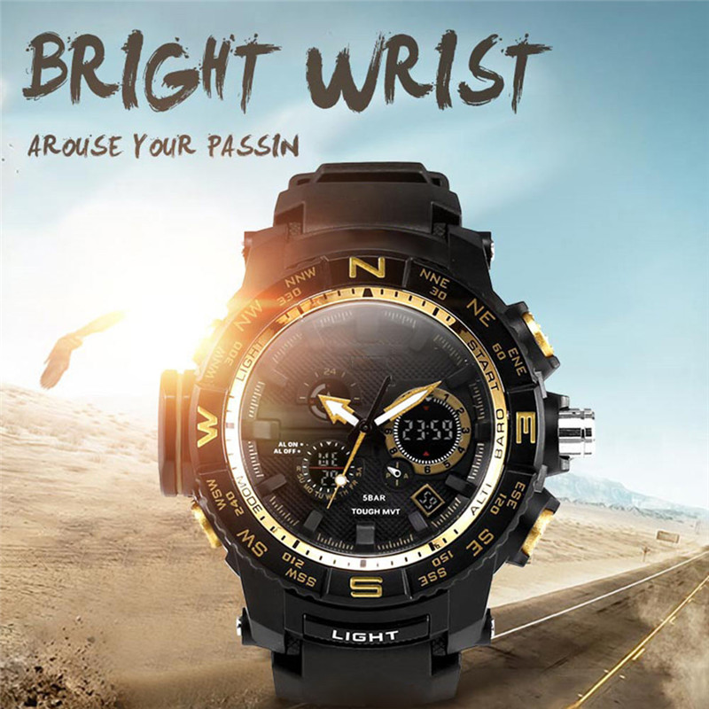 Casual Sports Watch High Quality Portable Multi-function Outdoor Waterproof Student Watch Calendar EL Cold Light Luminous#291613