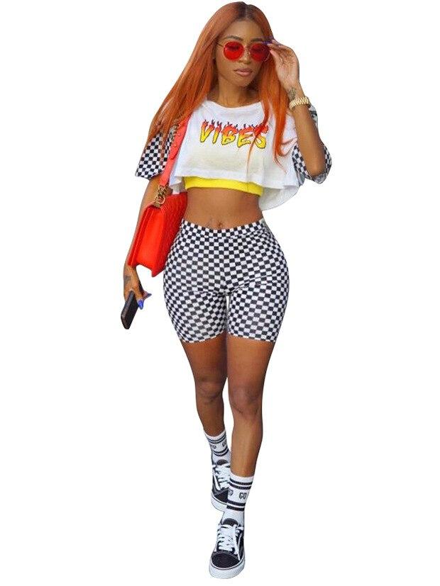 HTB1XH4HRVXXXXahXVXXq6xXFXXXX - Two piece set Women 2017 Sexy Summer patchwork white O-Neck letter crop top and shorts set female casual runway Checkered pants PTC 212
